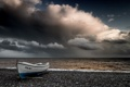 Картинка море, небо, берег, лодка