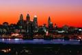 Картинка небо, ночь, город, огни, небоскребы