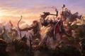Картинка девушка, воин, арт, битва, эльфийка, гном, орки