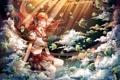 Картинка девушка, рыбки, пузыри, аниме, наушники, арт, под водой