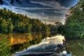 Картинка небо, облака, пейзаж, природа, отражение, HDR, река Германия