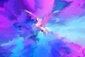 Картинка полет, животное, краски, крылья, арт, ярко, пегас