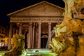 Картинка фонтан, Пантеон, Рим, Италия, ночь, огни