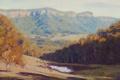 Картинка осень, пруд, холмы, вода, artsaus, деревья, природа