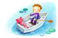 Картинка лодка, мальчик, мишка