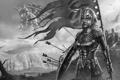Картинка Девушка, монстр, знамя, доспехи, стрелы, щит