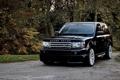 Картинка осень, черный, машина, cosworth, rover, range, автомобиль