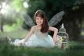 Картинка клетка, птичка, улыбка, ангел, Lets fly together, девочка