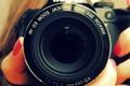 Картинка фотоаппарат, объектив, пальцы, никон