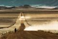 Картинка дорога, поле, пейзаж, человек