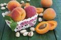 Картинка лето, стол, корзина, фрукты, персики, абрикосы, фисташки