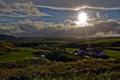 Картинка дорога, поле, пейзаж, закат, дома