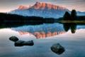 Картинка гора, отражение, вода, скала