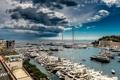 Картинка море, гроза, бухта, яхты, La Condamine, Monaco-Ville