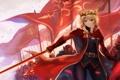 Картинка девушка, оружие, ветер, меч, армия, флаг, pixiv fantasia