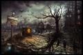 Картинка дорога, деревья, ночь, арт, вороны, карета, road to uberwald 2