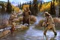 Картинка осень, лес, проблема, озеро, ситуация, бухта, медведь