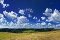 Картинка поле, небо, облака, сено