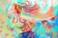 Картинка девушка, лицо, краски, волосы, наушники, майка, профиль