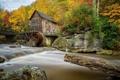 Картинка осень, лес, ручей, камни, США, Babcock State Park, мостик