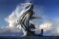 Картинка море, облака, город, сооружение, лестница, футуризм