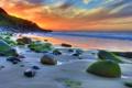 Картинка песок, море, небо, вода, солнце, облака, пейзаж