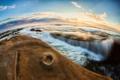 Картинка закат, камни, горизонт, прибой, Тихий океан
