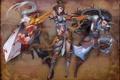 Картинка девушка, оружие, фон, меч, лук, арт, копье