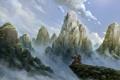 Картинка горы, природа, обрыв, ветер, арт, панда, World of Warcraft
