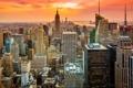 Картинка закат, город, Нью-Йорк, USA, США, NYC, New York City