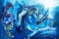 Картинка девушка, дракон, монстр, арт, под водой, monster hunter, ryuuta