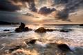 Картинка волны, солнце, камни, скалы