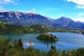 Картинка деревья, горы, озеро, остров, дома, церковь, Словения