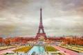 Картинка осень, небо, деревья, Франция, Париж, башня