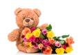 Картинка розы, colorful, мишка, bear, flowers, roses, with love