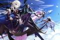 Картинка девушка, птицы, оружие, монстр, арт, змей, рога