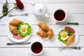 Картинка rose, breakfast, croissant, heart, love, завтрак, coffee