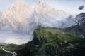 Картинка зелень, снег, пейзаж, горы, озеро, река, холмы