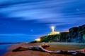 Картинка коряга, маяк, Lazio, вечер, море, песок, берег