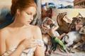 Картинка девушка, картина, арт, кулон, Edson Campos, холсты, задумчивось