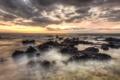 Картинка небо, облака, закат, камни, океан, горизонт, Гавайи