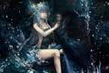 Картинка вода, девушка, ночь, аниме, арт, арфа, инструмент