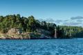 Картинка лес, деревья, река, берег, Швеция, скалистый, Stockholm