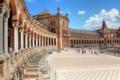 Картинка небо, люди, Испания, дворец, Севилья, площадь Испании