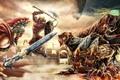 Картинка когти, меч, Воин, клыки, прыжок, доспехи, схватка