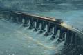 Картинка мост, река, рельсы, поезд, арт, живопись