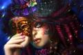 Картинка глаза, волосы, рука, Девушка, шляпа, макияж, маска