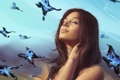 Картинка мечты, бабочки, девушка, небо, Арт