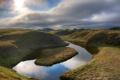 Картинка небо, трава, вода, природа, фото, холмы, пейзажи