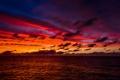 Картинка море, небо, облака, закат, горизонт, сумерки